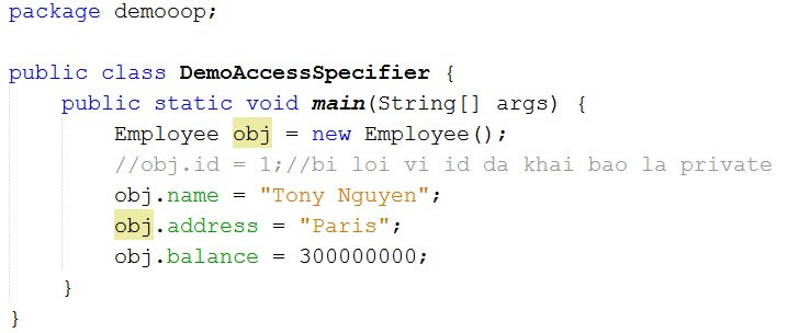 y nghia cua acceess modifier trong lap trinh java - pulic access modifier